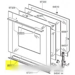 ensemble vitre exterieure de porte pour four SMEG